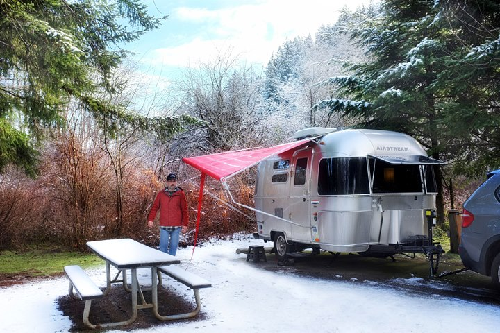 Campsite in the snow