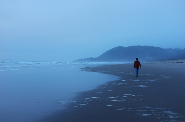 A solitary walk back to camp...we were the only ones on the beach this night!