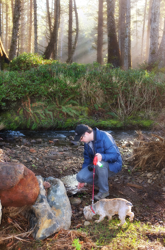 Looking for agates in the stream...