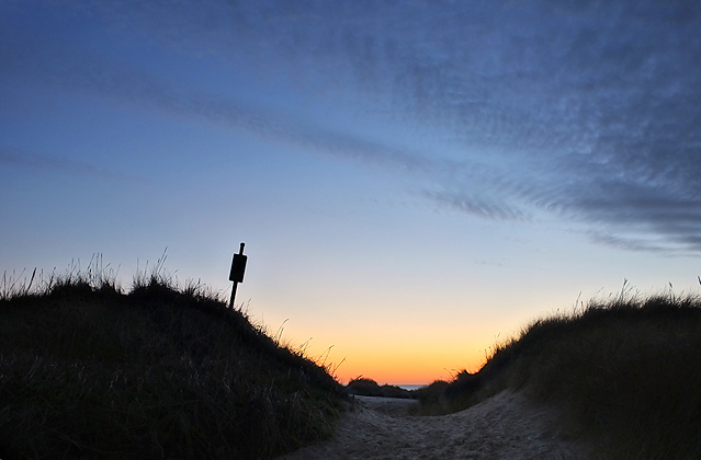 Our hike back over the dunes to our campsite. Still a slight glow in the sky!