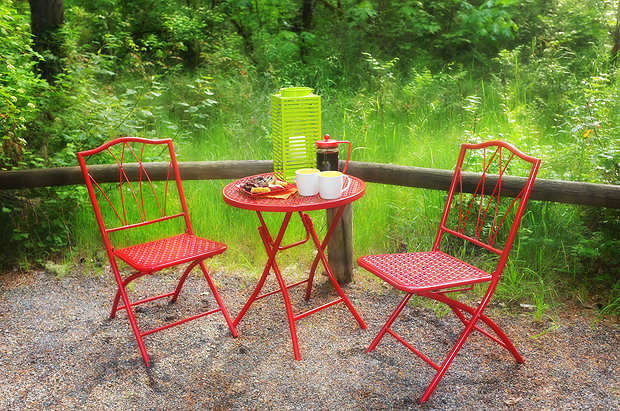 Really cute little bistro set I found before our trip. Light weight and folds up nicely! Perfect spot for coffee in the mornings!