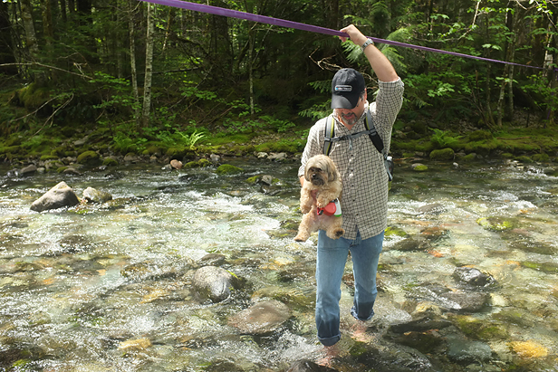 Crossing a creek bed and helping our furry hiking friend along.
