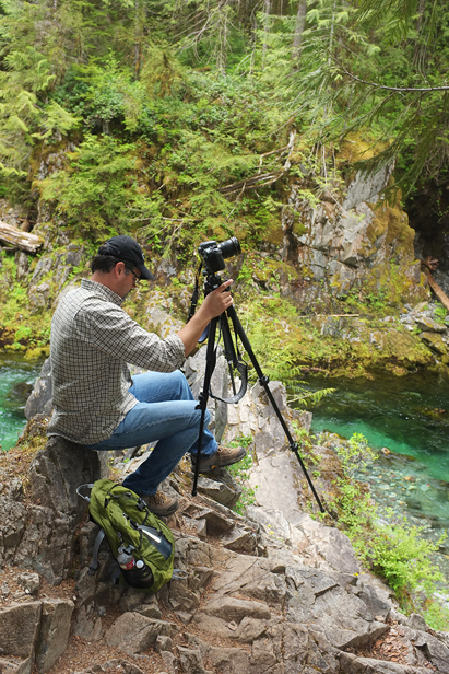 Todd setting up my tripod for me…I'm not a fan of small spaces with steep drops!