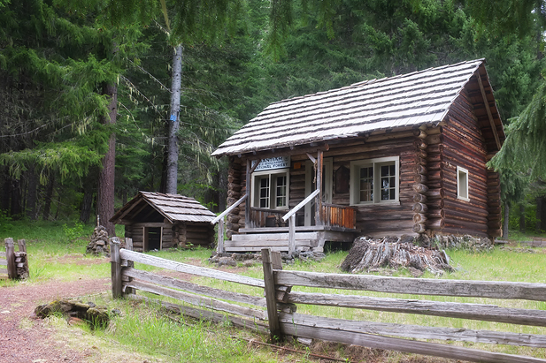 One of the neat old cabins, complete with ice house kept cold with natural springs.