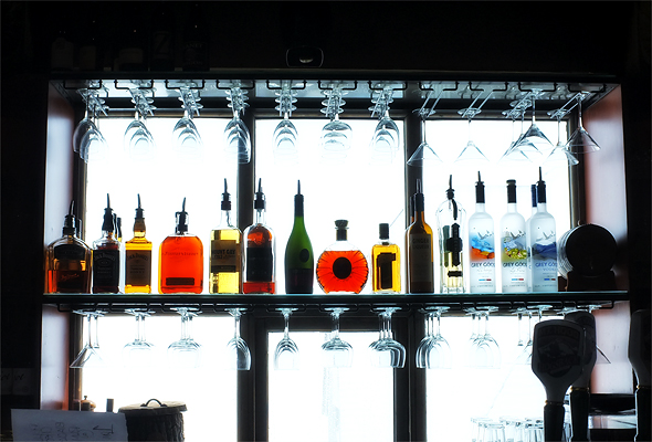 Thought this was a neat picture of one of the bars in the lodge backlit by snow.