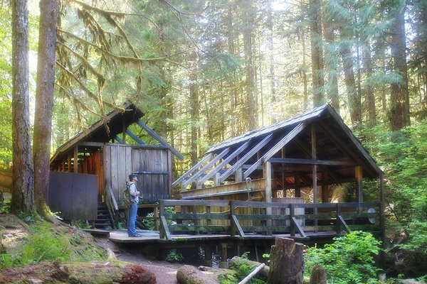 A view of the structures that house the tubs…some are wooden barrels and some are hollowed out cedar logs.