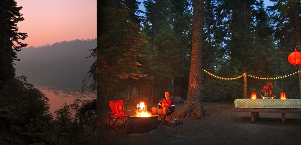 Fire sky and a view of our camp site. Picked up some neat solar lights that worked great!
