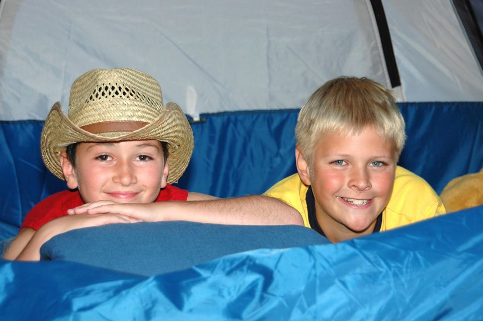 Two little boys spent a lot of summers camping out in our backyard in this tent.